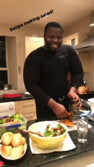 Senyo preparing the salad
